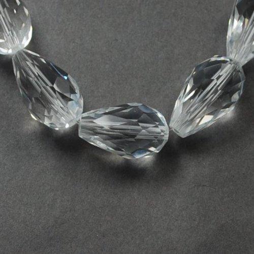 (x10) perles en verre a facette, goutte ,transparente 11x8 mm, trou: 1 mm
