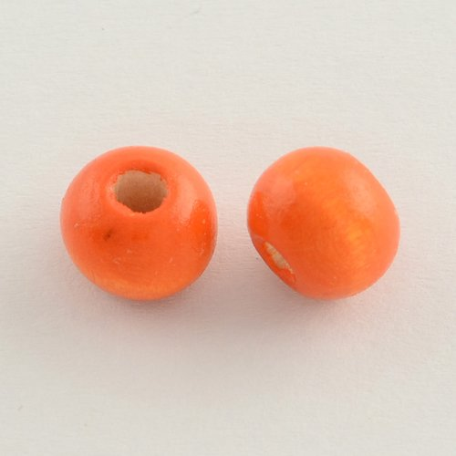 X50 perles en bois ronde orange 10x9mm