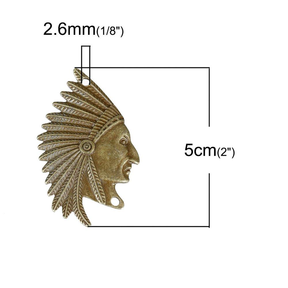 """x 1 connecteur """"tête d'indien""""bronze 50x31mm"""