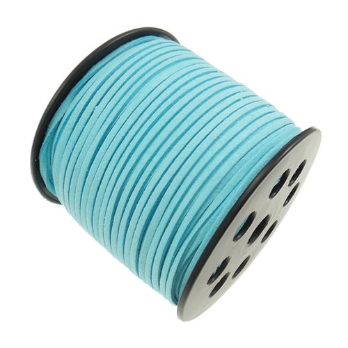 X 3 mètre de cordon suedine daim 3x2mm turquoise