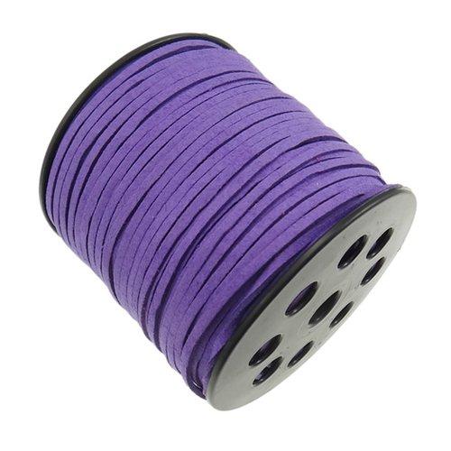 X 1 mètre de cordon suedine daim 3x2mm violet