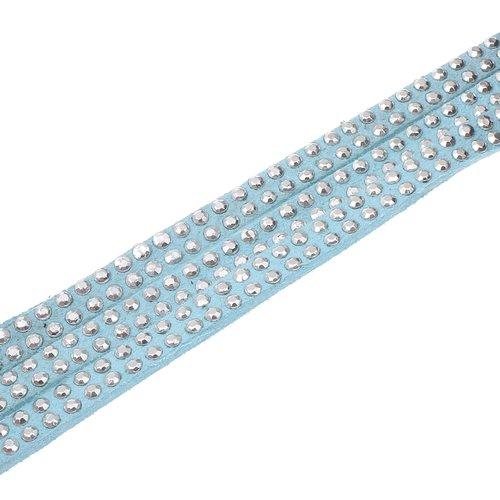 X 1 mètre de cordon suedine strass 5x2mm bleu clair