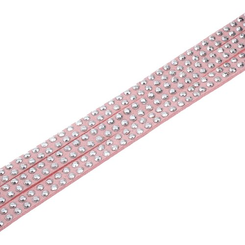 X 1 mètre de cordon suedine strass 5x2mm rose