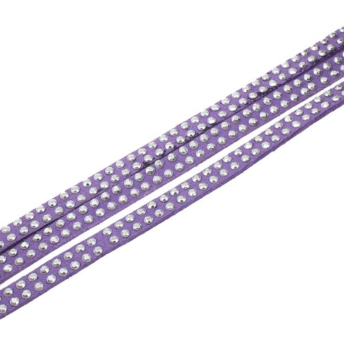 X 1 mètre de cordon suedine strass 5x2mm violet