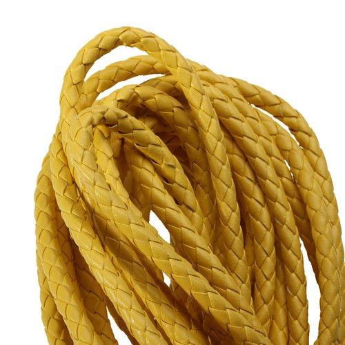 X 1 mètre cordon cuir simili tréssé diametre : 6mm jaune