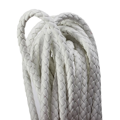 X 1 mètre cordon cuir simili tréssé diametre : 6mm blanc