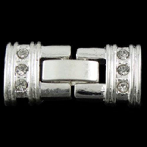 X 3 fermoirs 3 rangs clips argenté strass sans nickel, plomb et cadmium, 12x24x4mm, trou:environ 1mm