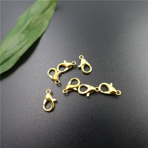 X 10 fermoirs mousqueton dorée 12 mm