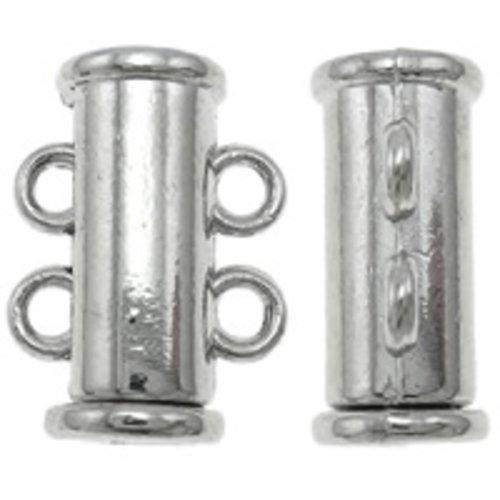 X 3 fermoirs coulissants en laiton,couleur platine, 2 rangs,sans nickel, plomb et cadmium  11x15.50x7mm, trou:environ 1.5mm,