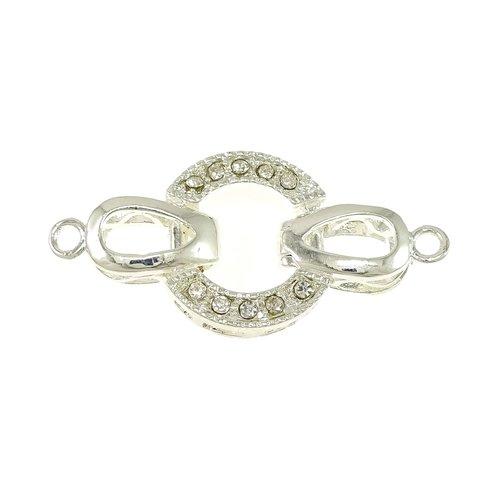 X1 fermoir clip a strass argenté sans nickel, plomb et cadmium, 34x16x4mm, trou:environ 2mm