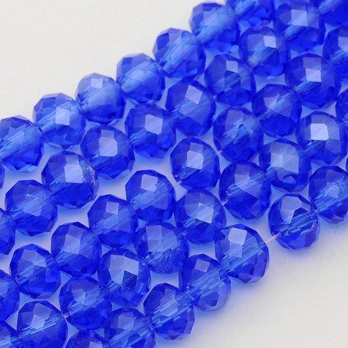 X 20 perles en verre,facette abaque, bleu royal, 6x4mm, trou: 1mm