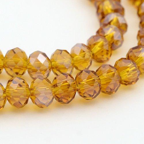 X 20 perles en verre a facette abaque jaune ocre 6x4mm trou: 1mm