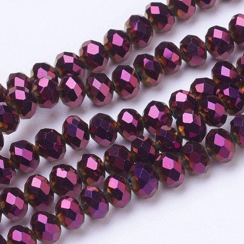 X 20 perles en verre electroplate, facette, abaque, pourpre, 6x5mm, trou: 1mm