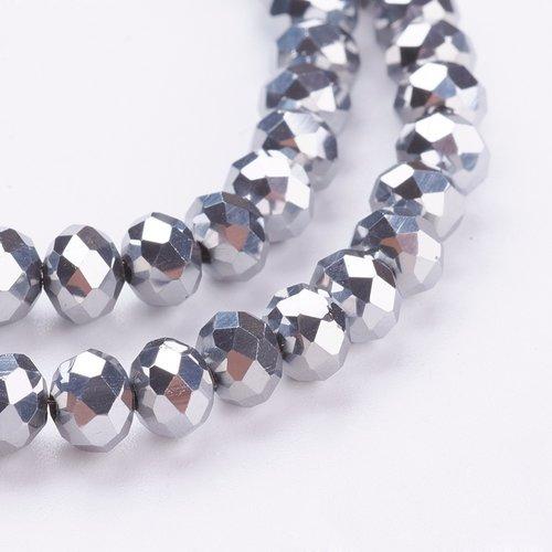 X 20 perles en verre electroplate, facette, abaque, platinée, 6x5mm, trou: 1mm