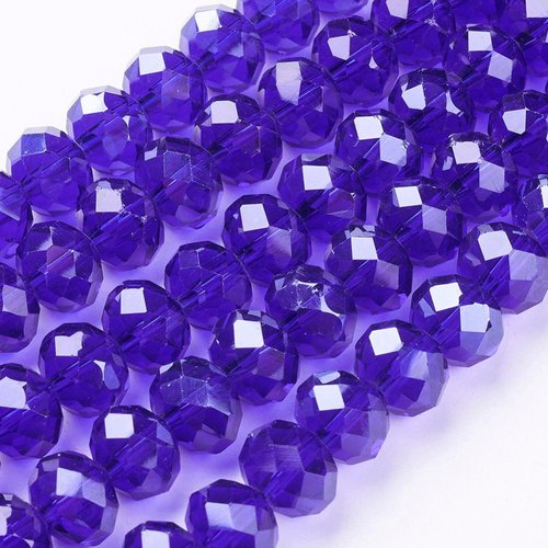 X 10 perles en verre a facette abaque, bleu, 10x7mm, trou: 1mm