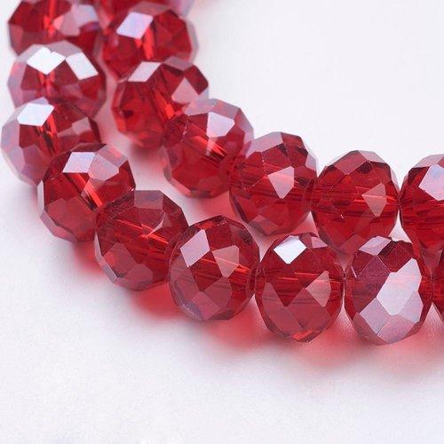 X 10 perles en verre, facette abaque, rouge, 10x7mm, trou: 1mm