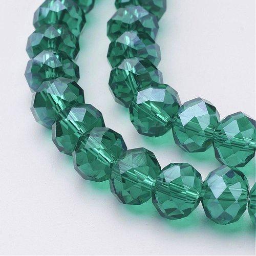X 10 perles en verre,facette abaque,vert,10x7mm, trou: 1mm
