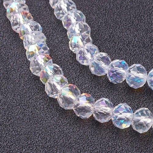X 20 perles en verre a facette transparente 6x4mm, trou: 1mm