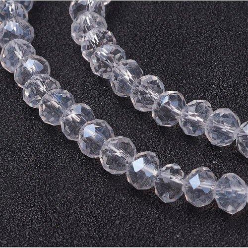 X 20 perles en verre a facette abaque, clair, 6x4mm, trou: 1mm