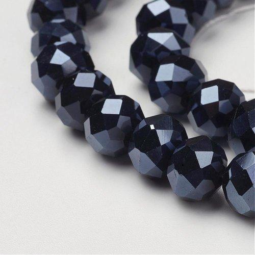 X  10 perles en verre a facette abaque, noir, 10x7mm, trou: 1mm