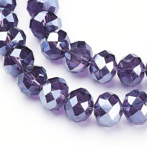 X 10 perles en verre a facette abaque, indigo, 10x7mm, trou: 1mm