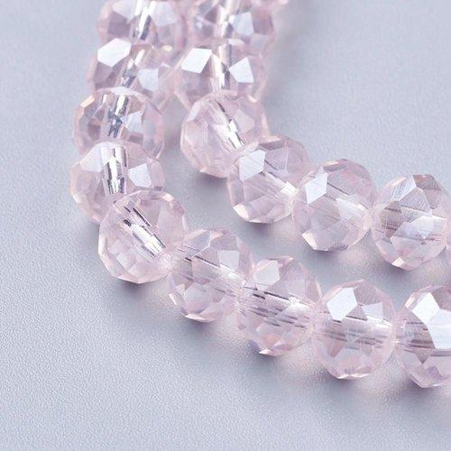 X 10 perles en verre, facette abaque,rose , 10x7mm, trou: 1mm
