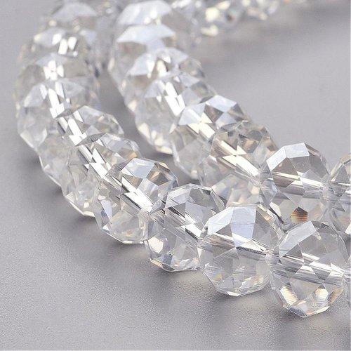 X 10 perles en verre a facette abaque, clair, 10x7mm, trou: 1mm