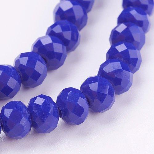 X 20 perles en verre jade d''imitation, facette, abaque, bleu, 6x4 mm, trou: 1 mm