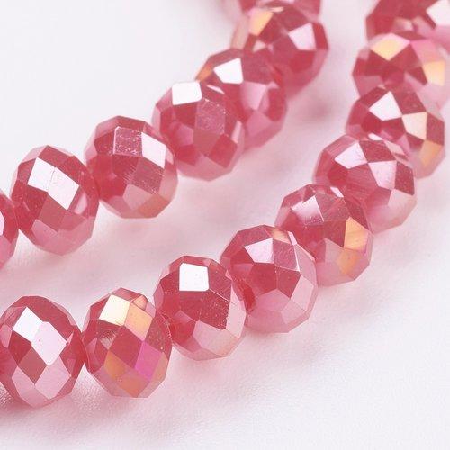 X 20 perles en verre electroplate, couleur ab , facette, abaque, rouge, 6x4 mm, trou: 1 mm