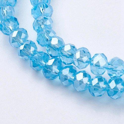X 20 perles en verre a facette abaque, bleu, 6x4mm, trou: 1mm