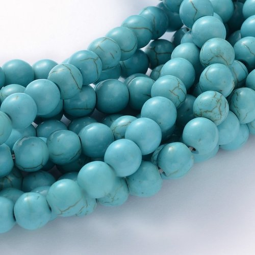 X 10 perles pierres fines , turquoise synthétique, ronde, bleu turquoise, 8mm, trou: 1 mm