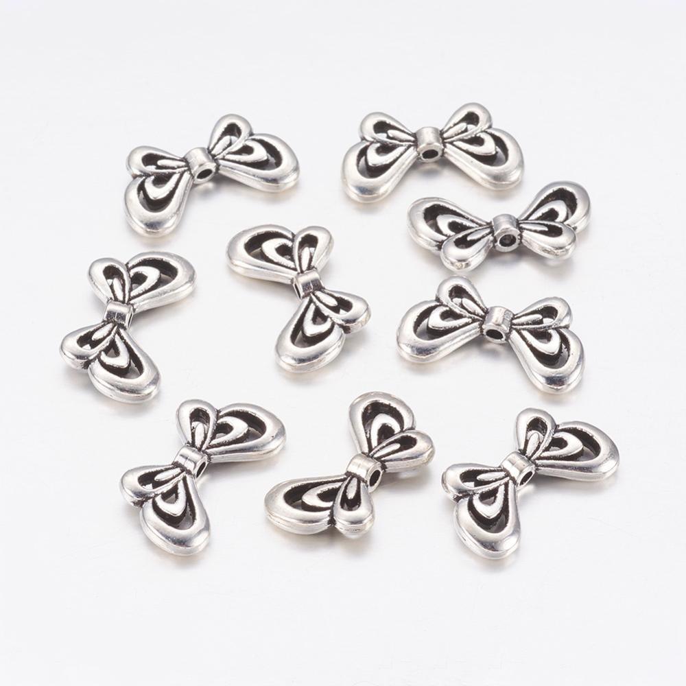 x 10 perles tubes de style tibétain, sans cadmium,plomb,nickel, papillon, argent antique, 17x10x2.5 mm, Trou: 1.5 mm