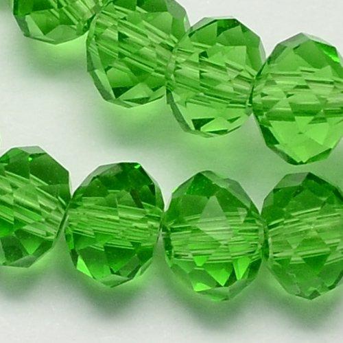 X 20 perles en verre a facette abaque, vert, 6x4mm, trou: 1mm