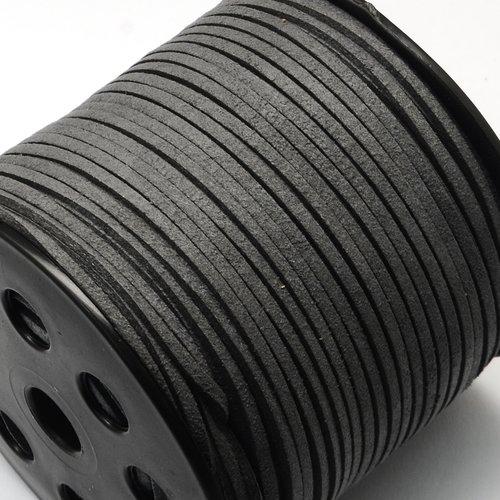 X 1 mètre de cordon suedine daim 3x2mm gris foncé
