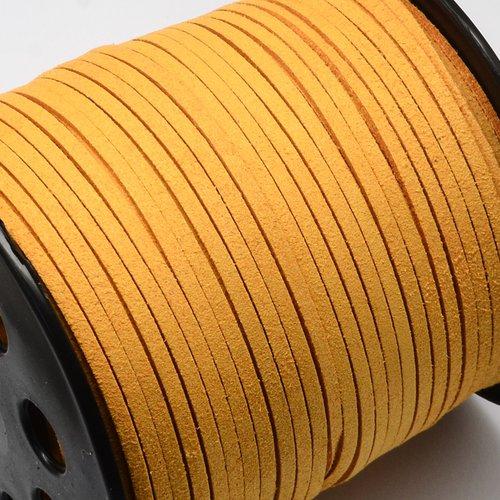 X 3 mètre de cordon suedine daim 3x2mm orange
