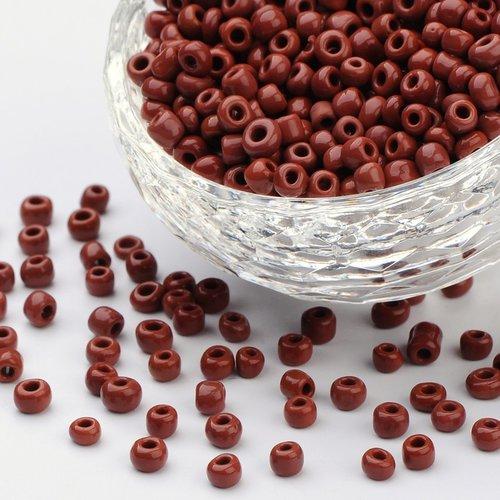 15 gr perles de rocaille en verre, opaque,marron, taille: environ 4mm de diamètre, trou: 1.5 mm