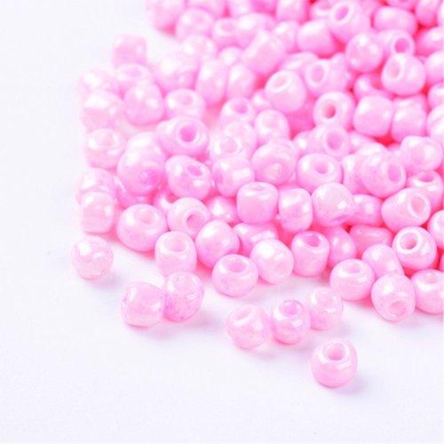 15 gr perles de rocaille en verre, opaque,rose, taille: environ 4mm de diamètre, trou: 1.5 mm