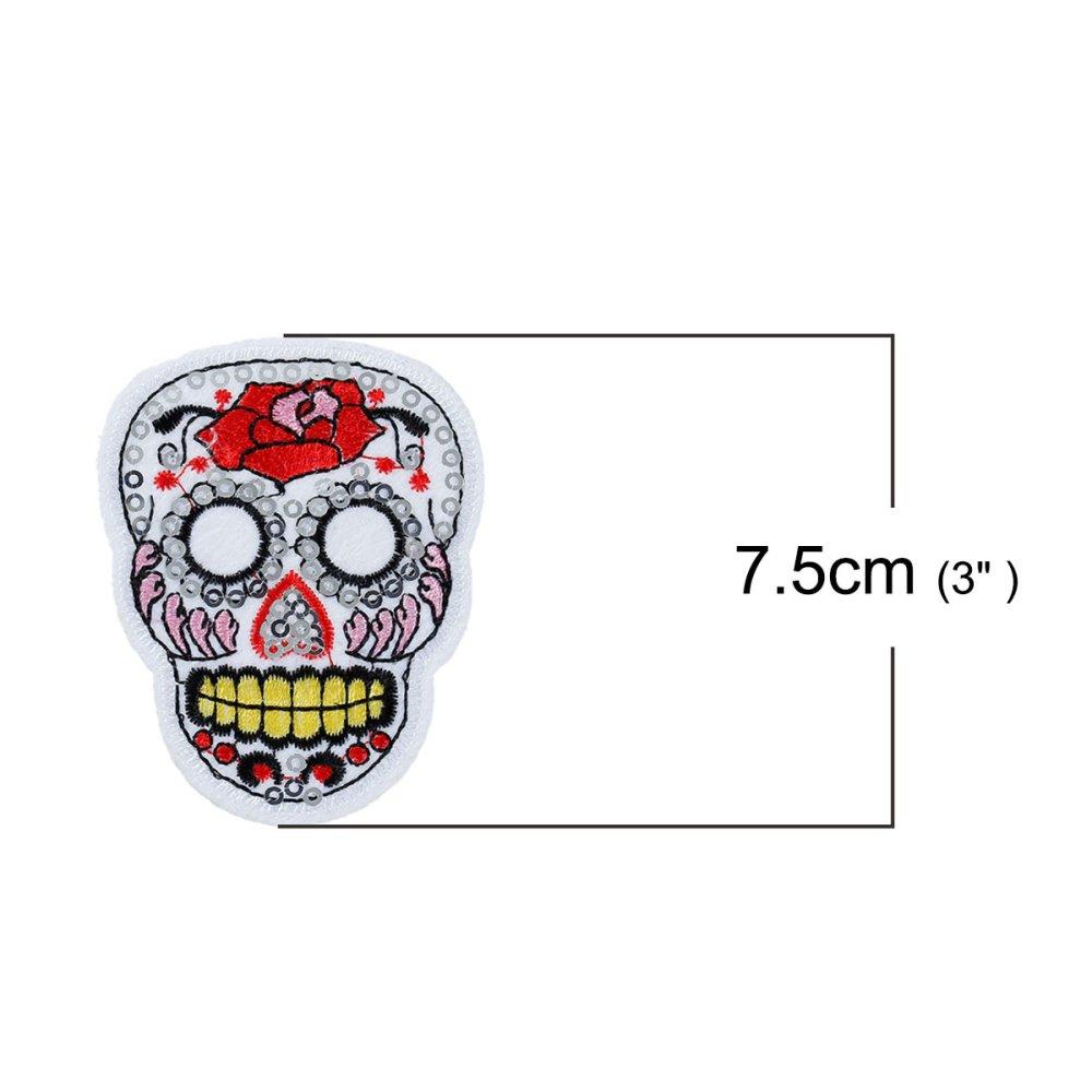 """x 1 applique écusson polyester """"tête de mort"""" 75x57mm"""