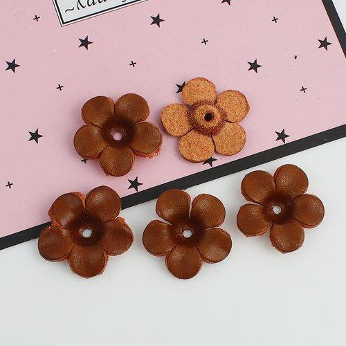 X 1 breloques pendentifs grande fleurs en cuir 25 x 25 mm café