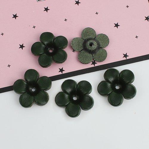 X 1 breloques pendentifs grande fleurs en cuir 25 x 25 mm vert foncé