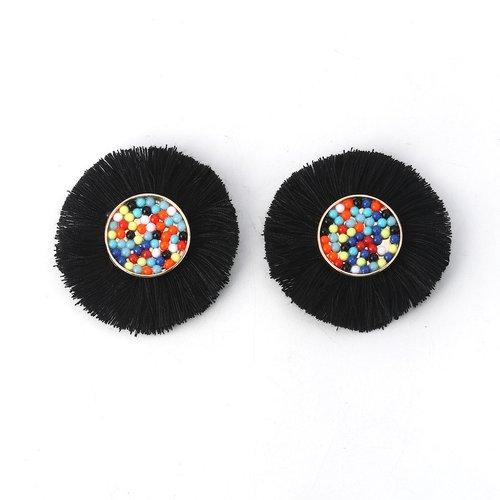 1 cabochon perle et pompon noir 50mm