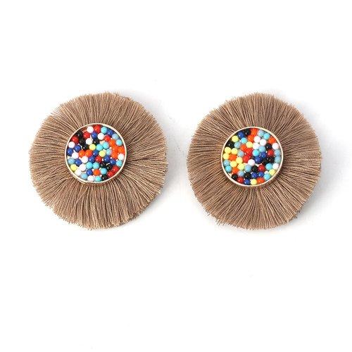 X 1 cabochon perle et pompon diamètre 50mm marron