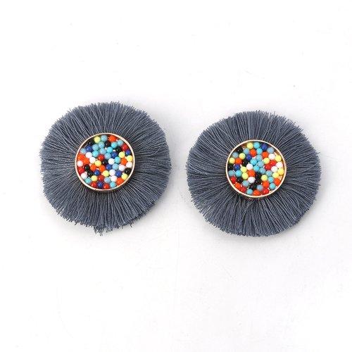 X 1 cabochon perle et pompon diamètre 50mm gris