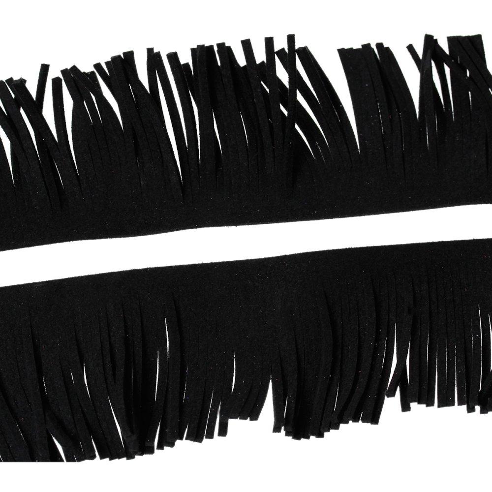 x 1 mètre de suédine a frange 30mm noir