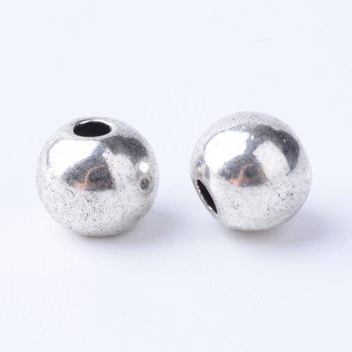 X 20 perles style tibétain,sans cadmium,nickel,plomb,argenté, 6x5mm,trou:1.5 mm