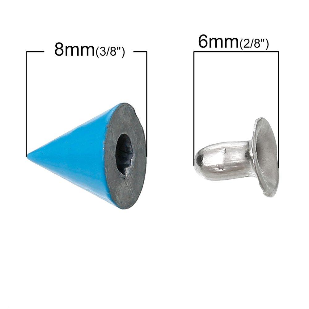 x 10 Rivets en Alliage de zinc+Alliage de fer Forme Cône, 9mm x 8mm bleu