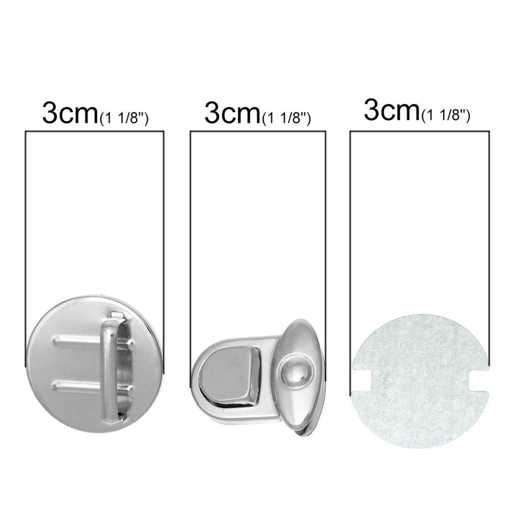 x 1 kit (3 pièces) Fermoir à Tourner pour Sac à Main/pochette/cartable en Alliage de Fer Argent Mat 30 x 25mm