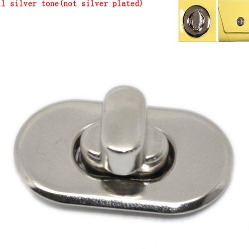 X 1 kit (5 pièces) fermoir à tourner pour sac à main en alliage de fer argent mat 28x37mm