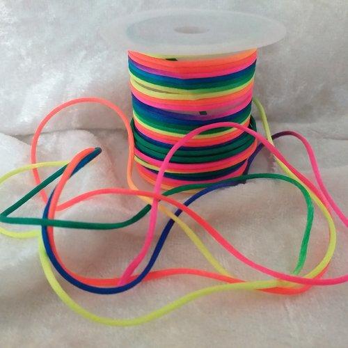 """X 1 bobine de cordon synthétique couleur """"arc en ciel"""" (6 mètres x 2 mm)"""