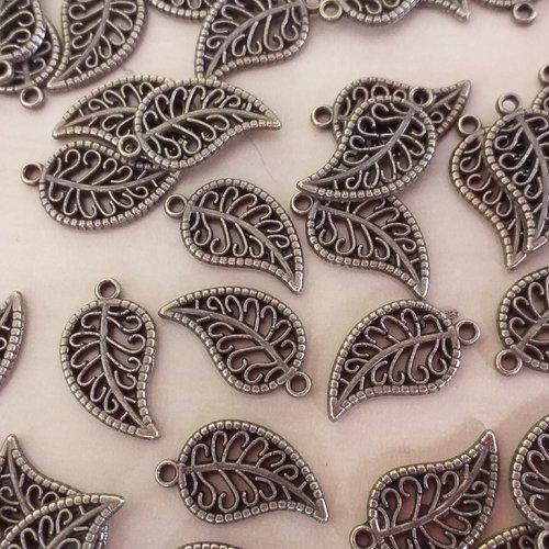 X 3 breloques feuille arabesque couleur bronze 18 x 10 mm